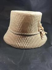 Women's Beige Acrylic Bucket Hat with Flower O/S