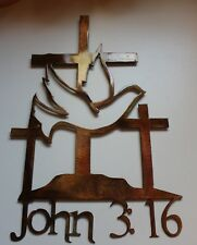 "John 3:16 Cross METAL WALL ART DECOR 19"" tall"