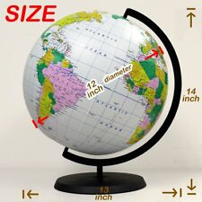 Educational Inflatable Globe Of The World 12 Inch Blow Up Earth Ball with Stand