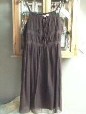 Côte Femme brown sleeveless silk dress UK12