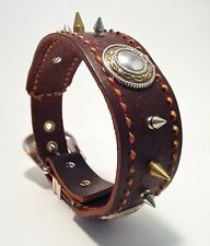 Custom Handmade Leather Brown Dog Collar Studded Spiked Hand Stitched