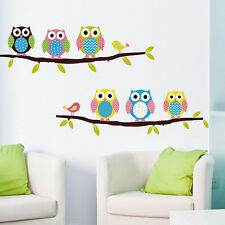 1 X Animal Cartoon Owl Tree Vinyl Wall Sticker for Kids Rooms Boys Girl Home J2
