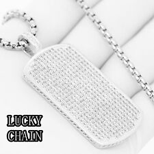 "STAINLESS STEEL LAB DIAMOND SILVER DOGTAG PENDANT 30""ROUND BOX CHAIN/44g/E640"
