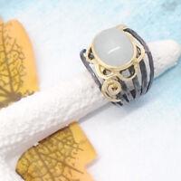 Aqua Chalcedon schwarz gold gothic Design Ring Ø 18,0 mm 925 Sterling Silber neu