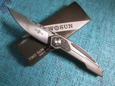Twosun EDC D2 Titanium Carbon Fiber Ball Bearings Fast Open Folding Knife TS25