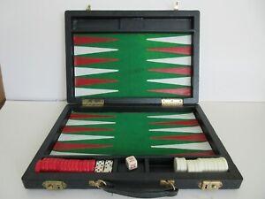Vintage Backgammon set, in black leather case.