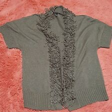 Mac & Jac Sz XL Sweater Womens Open Knit Ribbed 3/4 Sleeve Silver Gray Office