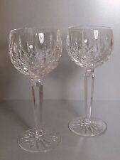 WATERFORD Crystal LISMORE Pair Hock Wine Glasses / Goblets