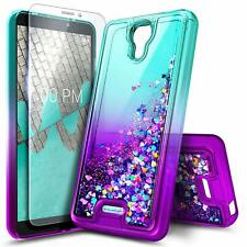For BLU Wiko Ride / Cricket Icon Liquid Glitter Cover Case + Tempered Glass