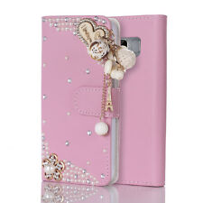 3D Bling Pink Crystal Heart Flip Leather Diamond Case For Samsung Galaxy S8