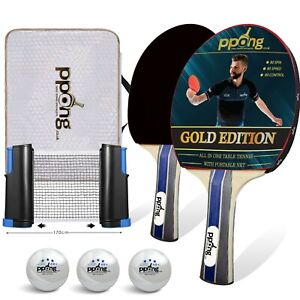 Table Tennis Set 2 Bats 3 Balls and Net Ping Pong Racket Paddle PPong Gold Ed
