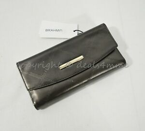 NWT Brahmin Modern Checkbook Leather Tri-Fold Wallet in Bronze Vetiver