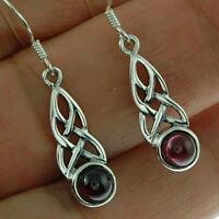 Celtic Knot Sterling Silver Earrings, w Garnet Stone, 925 Solid Sterling Silver