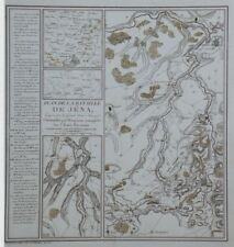 """""""PLAN DE LA BATAILLE DE JENA"""" Gravure originale entoilée Etienne HENRY 1807"""