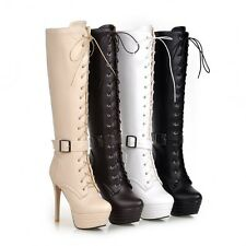 Womens Stilettos High Heels Knee High Boots Lace Up Strap Party Platform Shoes