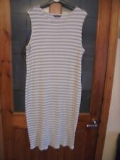 SIZE 18 REGULAR MARKS AND SPENCER'S GREY/WHITE STRIPE MAXI DRESS