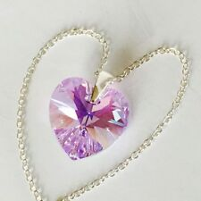Swarovski Elements 925 Silver Necklace Pendent Crystal Jewellery Heart Violet AB