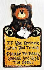 Bear Sprinkle Tinkle Sign Bath Bathroom Plaque Rustic Country Decor Camping Camp