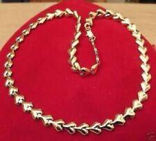collier bijou rétro tout en coeurs bombés couleur or poli brillant R