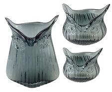 3 er Set Dekovase Eule grau Glasvase Vintage Vase Glas Retro Tischvasche