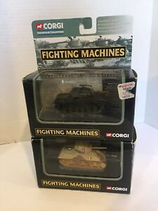 Corgi Showcase Collection Fighting Machines - Lot Of 2 , Tanks Sherman & Patton