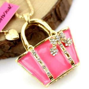 Betsey Johnson Jewelry Pendant Enamel rhinestone Pink Bow package Necklace hot