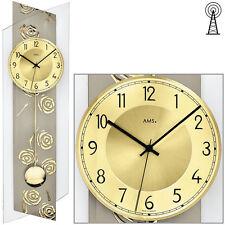 AMS 5223 Wanduhr Funk Funkwanduhr mit Pendel golden Pendeluhr Glas Rosen Dekor