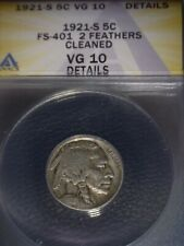 1921-S Buffalo Nickel, ANACS VG10. TWO FEATHER, Key Date