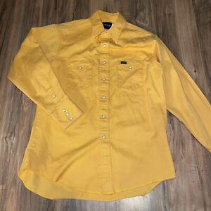 Wrangler Mens Solid Heavy Cotton Pearl Snap Long Sleeve Shirt Yellow
