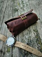 Leather Watch Case Brown Leather Four Watch Travel Storage Pouch Roll