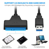 """USB 3.0 to 2.5"""" SATA III Hard Drive Adapter Cable/UASP To USB 3.0 Converter-WI"""