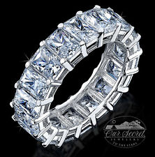 10 KT BRILLANTE SPLENDENTE ANELLO ETERNITY TOP zirconia cubica argento sterling