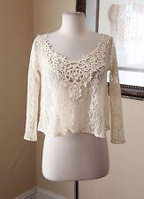 NWOT New Hollister Cream Off White Sheer Lace Cropped Blouse Shirt Size XS Boho