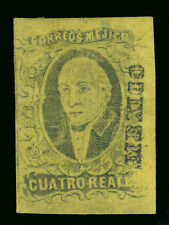 MEXICO 1861  HIDALGO  4r yellow  Scott # 9  mint MH