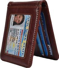 Yuhan Pretty RFID Mens Slim Bifold Wallet Leather Front Pocket Money Clip Brown