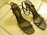 LAUREN Ralph Lauren Brown Leather Croc Strappy Sandals High Heel Size 11 B