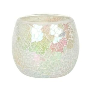 White Iridescent Crackle Candle Holder Height 9.5 cm