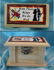 Wedding Bridal Ring Bearer Pillow WOOD Box FIREFIGHTER Fireman Fire fighter man