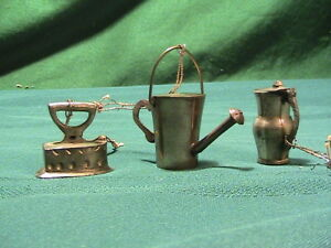 Vintage Doll Miniature metal Teapot watering can pitcher iron