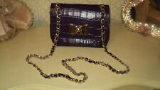 ITALIAN PURPLE CROCO GENUINE LEATHER HANDBAG MESSENGER CROSS BODY