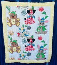 Vintage AppliquÉ-Look Baby Quilt - Puppies, Kittens, Teddies & Bunnies - Great!