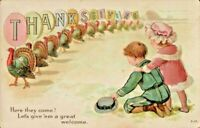 Antique Postcard Thanksgiving Turkeys on Parade Boy Girl  Emb  Henderson ca 1910