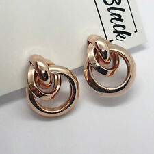 Rose Gold Chunky Triple Hoop Knot Studs Clip On Earrings Blogger UK Statement