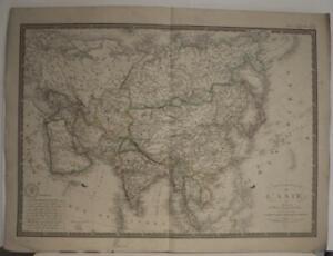 ASIAN CONTINENT 1836 ADRIEN-HUBERT BRUÉ ANTIQUE ORIGINAL COLORED LITHOGRAPHICMAP