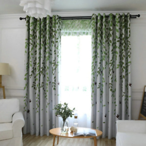 Blackout Curtain For Living Room Leaves Birds Printed Drapes Bedroom Kitchen Bal