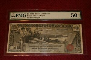 1896 $1 Dollar Silver Dollar Certificate Large Educational Note Red Seal Nice