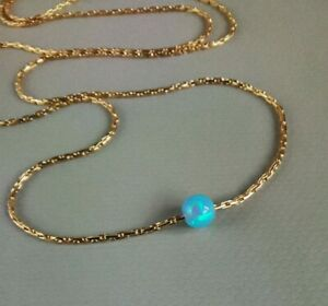 OPAL Fire Blue 14k Gold chain Necklace dainty Bridal gift Wedding