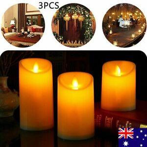 3PCS Flameless Flickering LED Tea Lights Pillar Fake Candles Wedding Battery AU