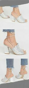 Free People Siren Cove Heel Silver Metalic Shoes Size 38 US 8 New In Box