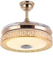 "42"" Bluetooth Ceiling Fan Light with Remote LED Dimmable Fan Chandelier"